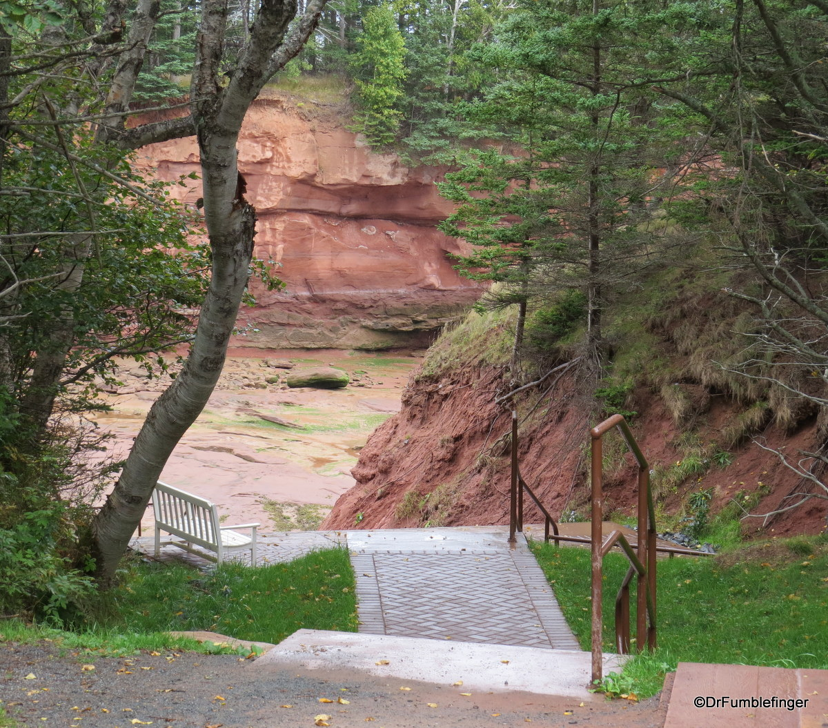 Stair leading to the ocean floor, Bay of Fundy