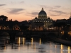 St. Peter's Basilica and the Tiber River at dusk, Rome