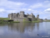 Moat around Castle Caerphilly, Wales
