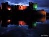 Castle Caerphilly lite up a night