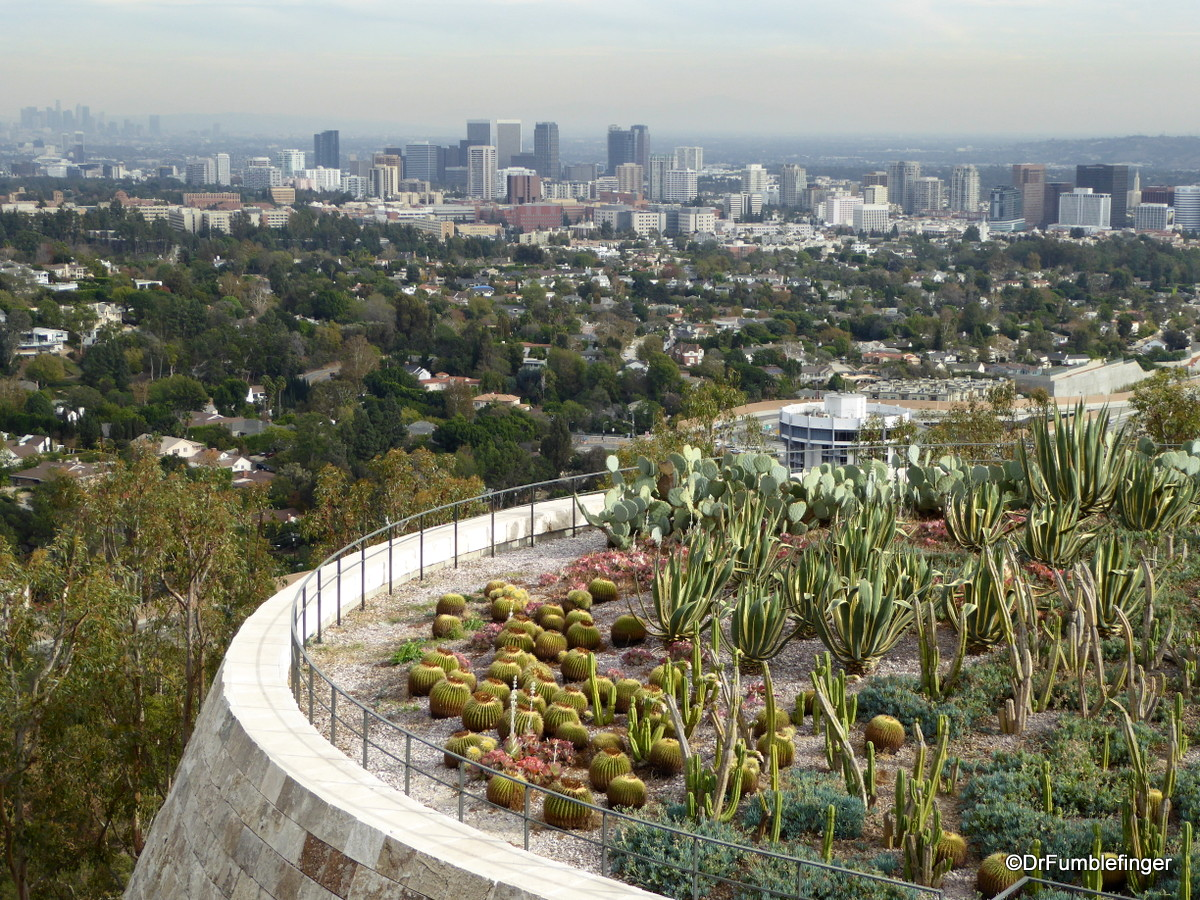 Cactus Garden and view of Century City from the Getty Center, Los Angeles