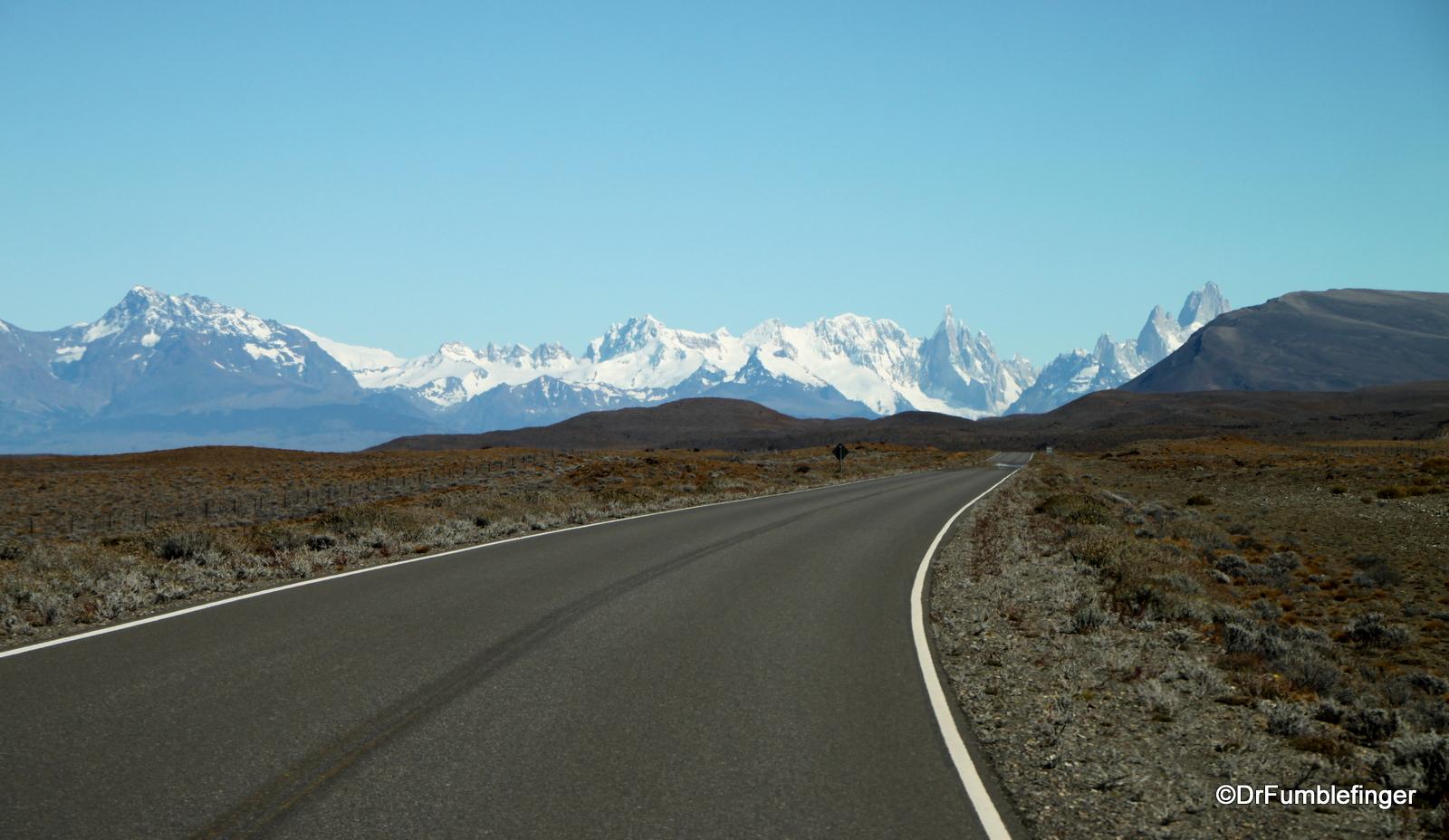 Leaving El Chalten, Argentina. Fitzroy Massif seen in a distance.
