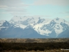 Patagonia steppe and distant Andes come ever close as we approach the Perito Moreno Glacier, Argentina