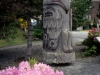 Prince Rupert. Totem and Rhododendron by courthouse