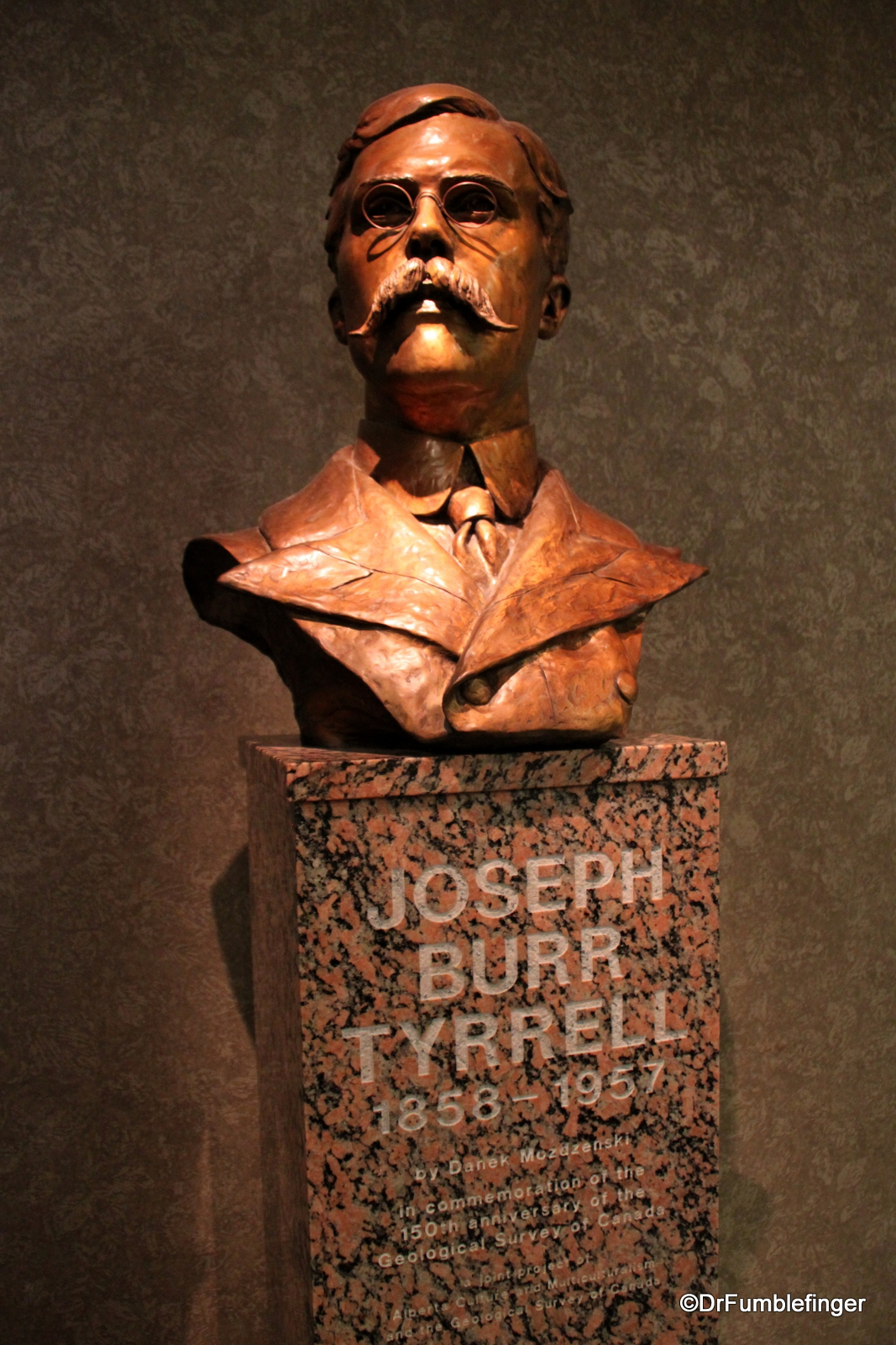 Bust of namesake, Mr. Tyrrell, Royal Tyrrell Museum
