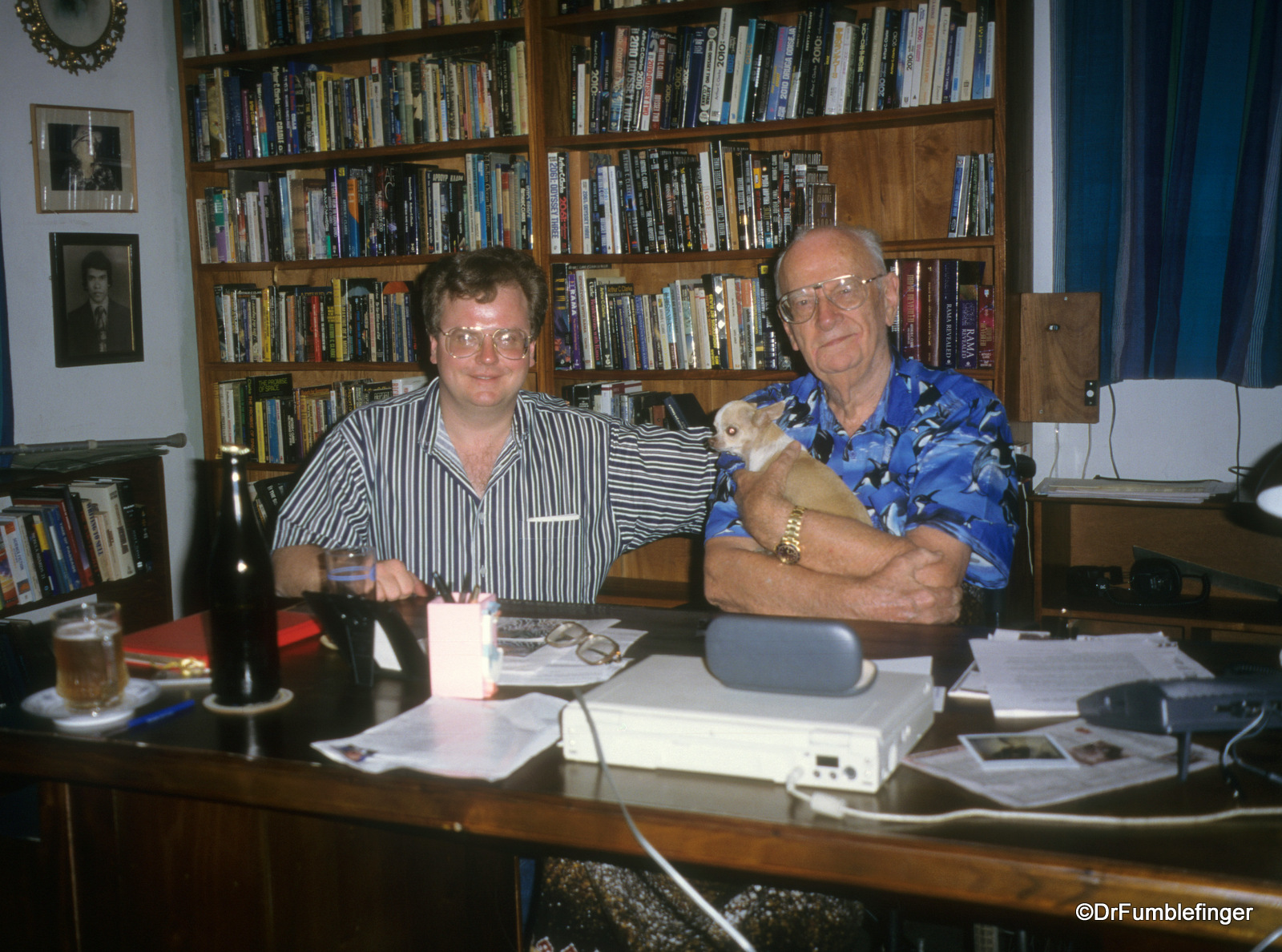 From R to L, Sir Arthur, Pepsi and DrFumblefinger. The bookcase behind us is filled with Arthur's books.