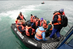 Boarding the Zodiacs to go on our hike in Tierra del Fuego