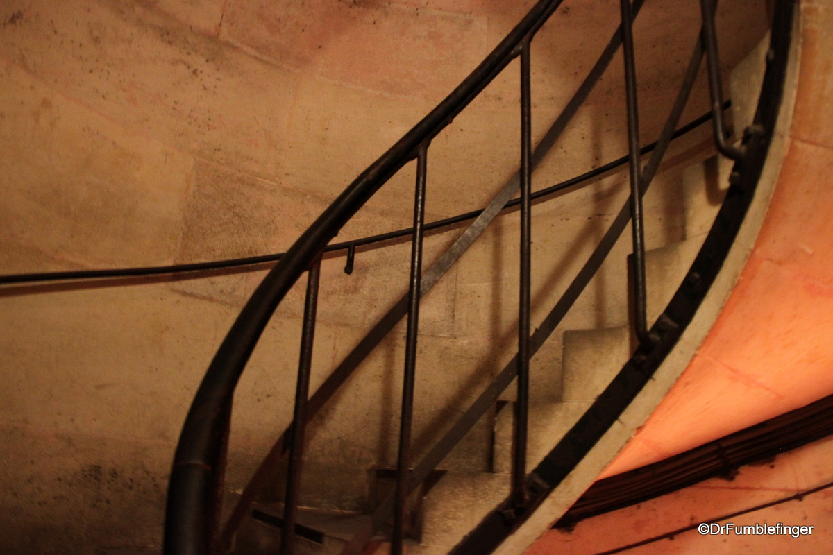 Stairs winding up to the roof of the Arc de Triomphe