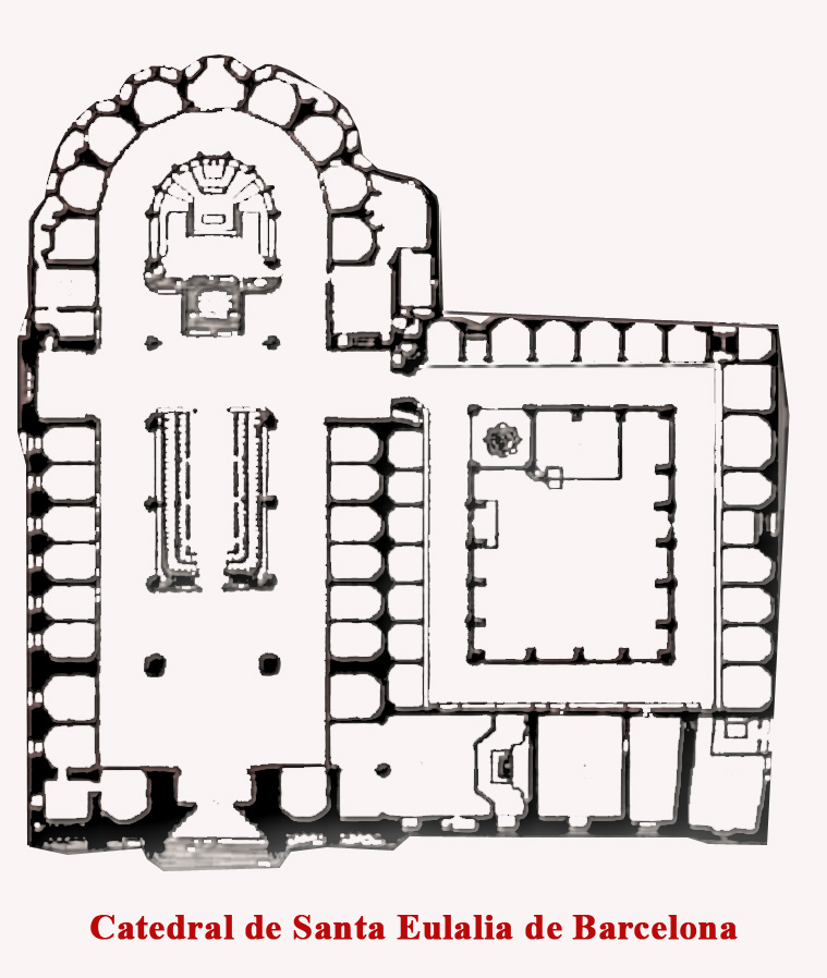 Barcelona Cathedral floorplan, courtesy Papix and Wikimedia