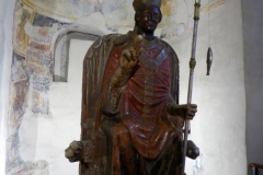 Church of San Zeno, Verona.  Laughing San Zeno statue from the 13th century.
