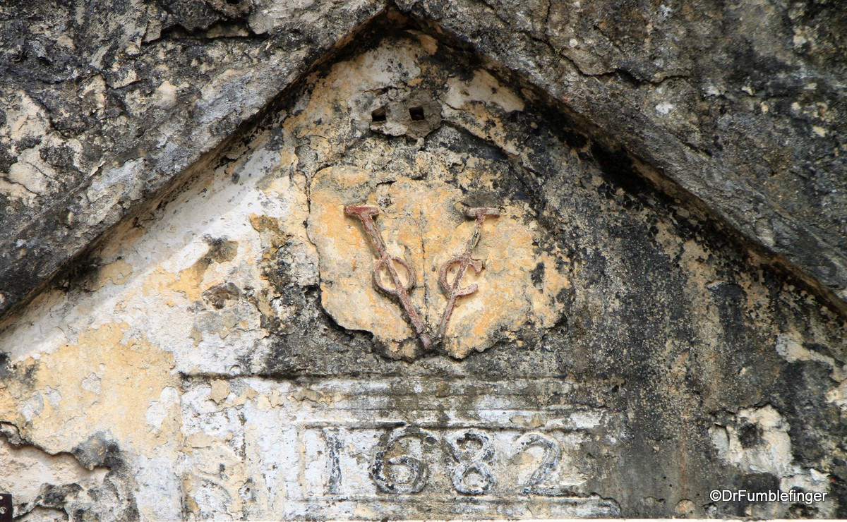 Symbol of the Dutch East Indies company above entrance to the Batticaloa Fort