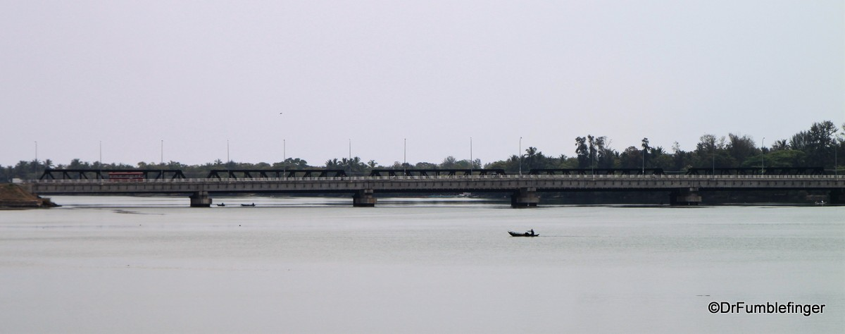 View from Batticaloa Fort (bridge and fisherman)