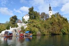 Gondolas landing on Bled Island, Slovenia