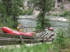 Lowering rafts into Clark Fork River