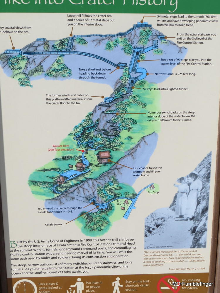 Trail map of Diamond Head State Monument