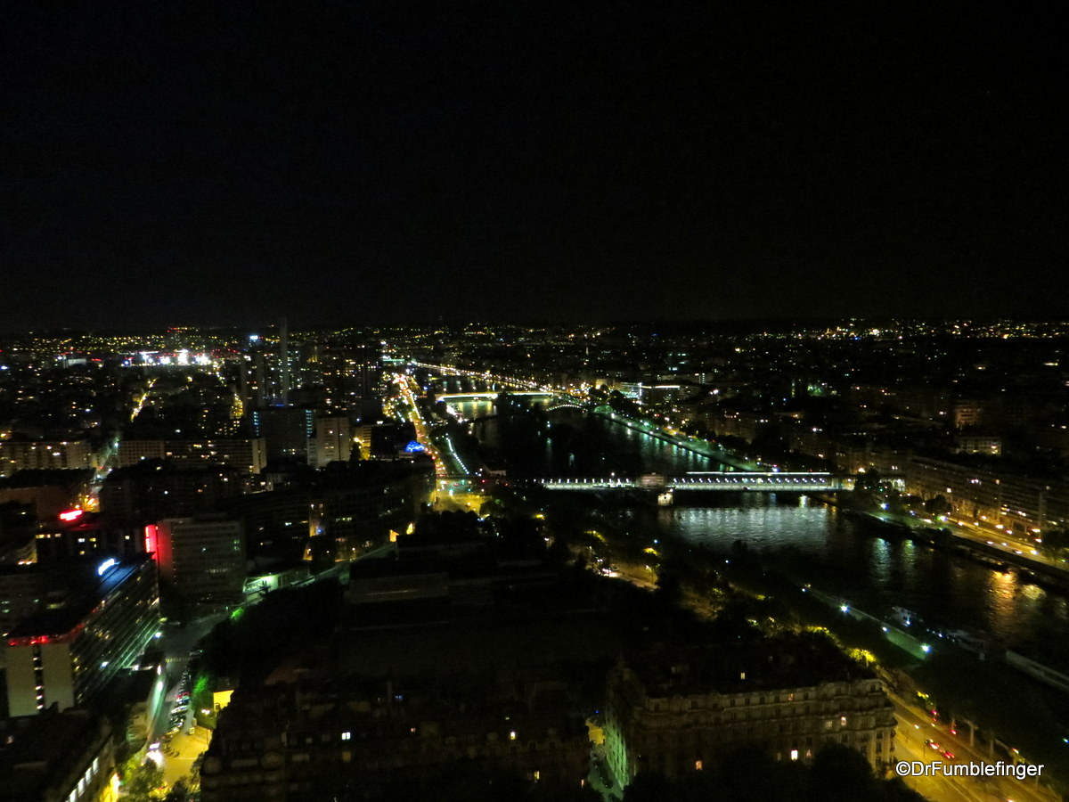 Views from the Eiffel Tower after dark