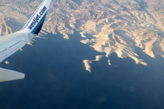 Views of Lake Mead while descending into Las Vegas