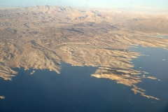 Views of Lake Mead while descending into Las Vegas