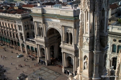 Entrance to the Gallerie Victor Emanuelle II viewed from the roof of the Duomo