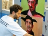 Street art in Villa Crespo. Jaz painting in his studio