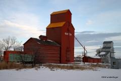 Traditional grain elevators, Nanton, Alberta