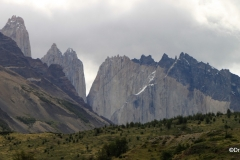 The towers of Torres del Paine loom near the Hotel Las Torres