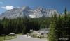 View of Cascade Mountain over Lake Minnewanka parking lot