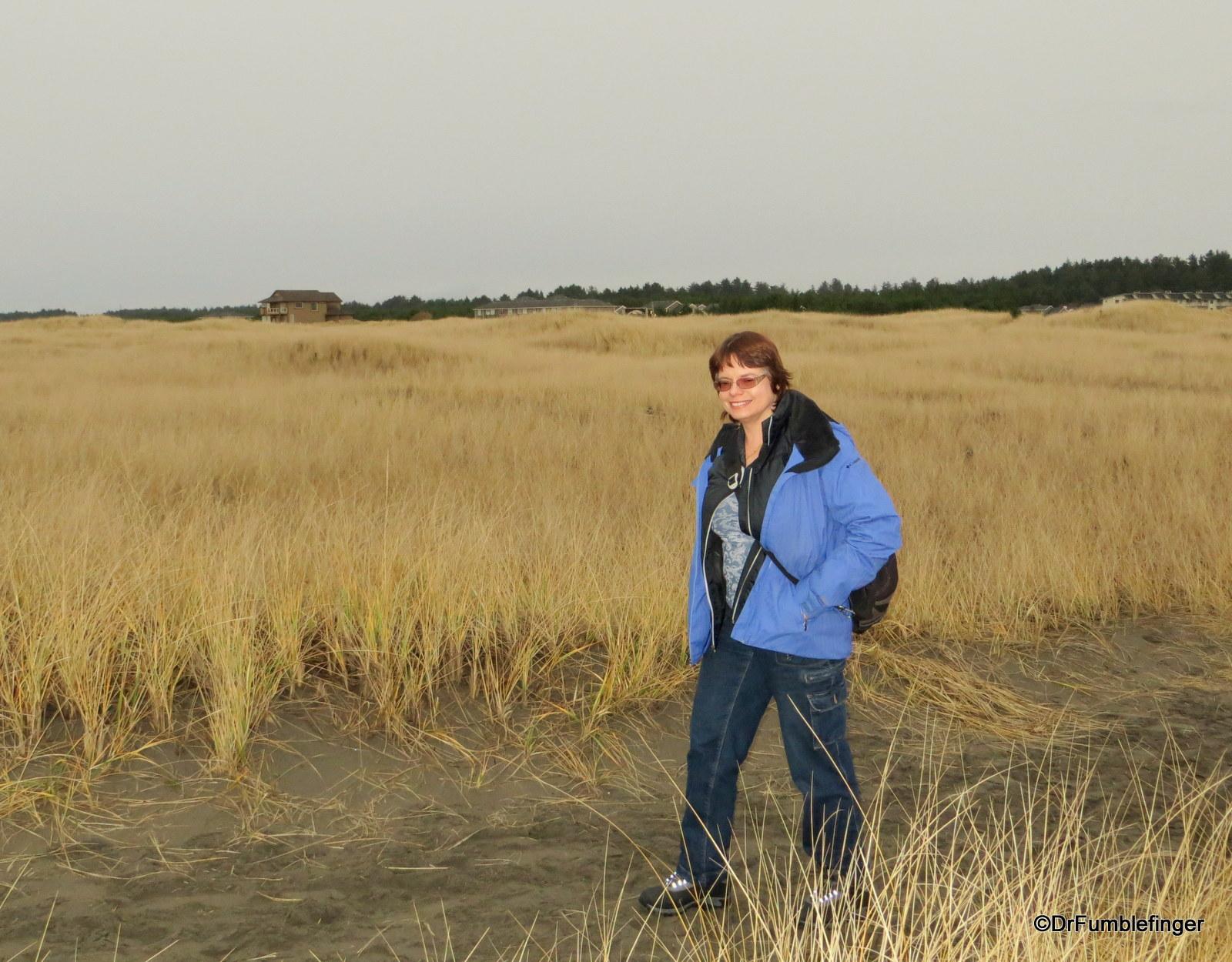 Sylvia walking towards the beach.