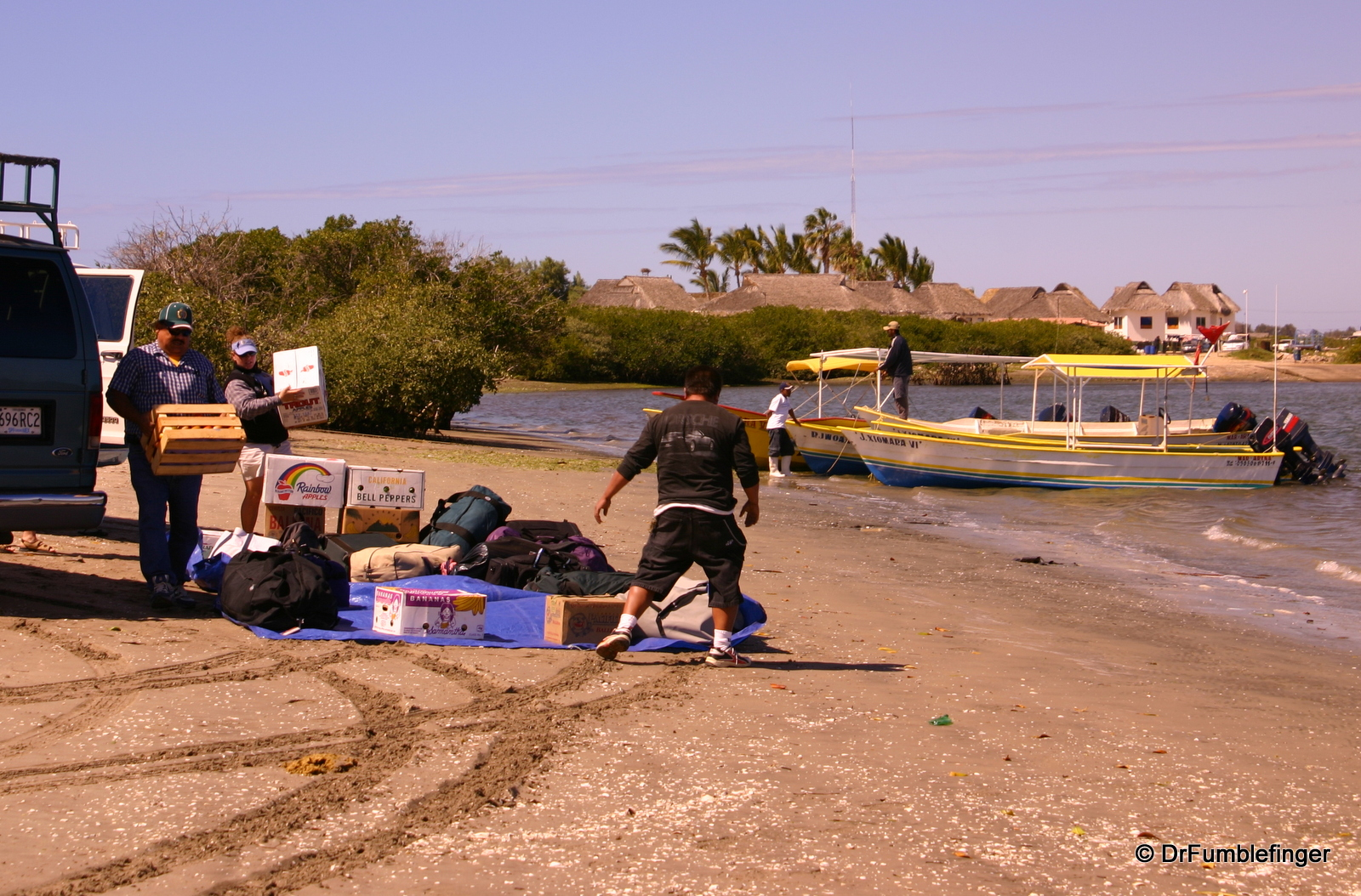 Loading our gear into boats, Magdalena Bay