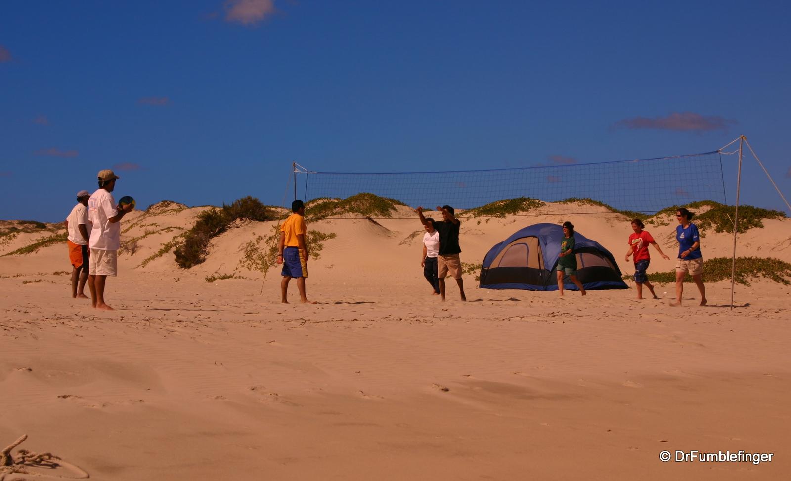 Beach volleyball at our camp, Magdalena Bay