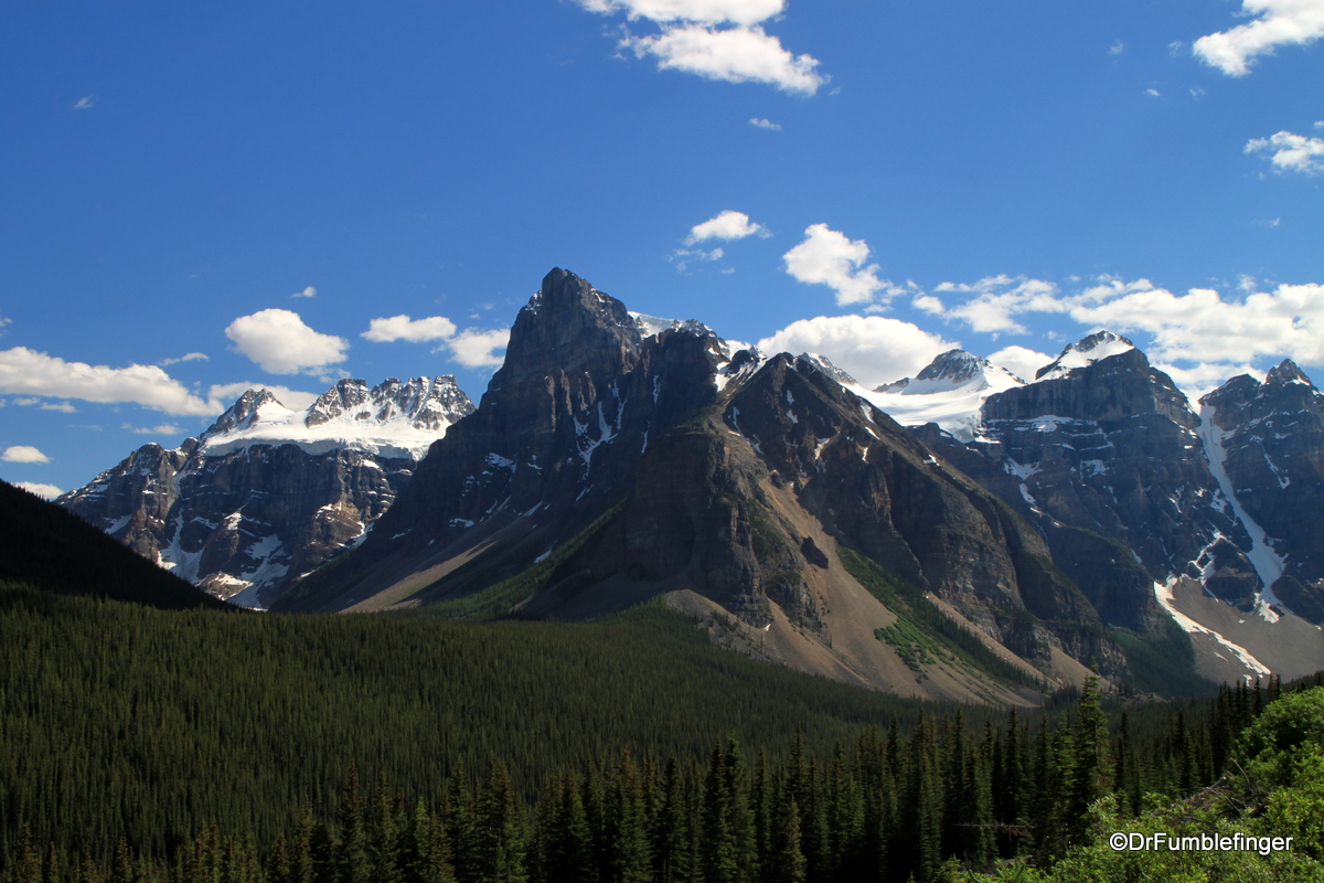 Mountains surrounding road into Moraine Lake, Banff NP