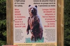 Bear warning sign for hikers, Moraine Lake, Banff NP