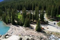 Log jam near lake's exit, Moraine Lake, Banff NP