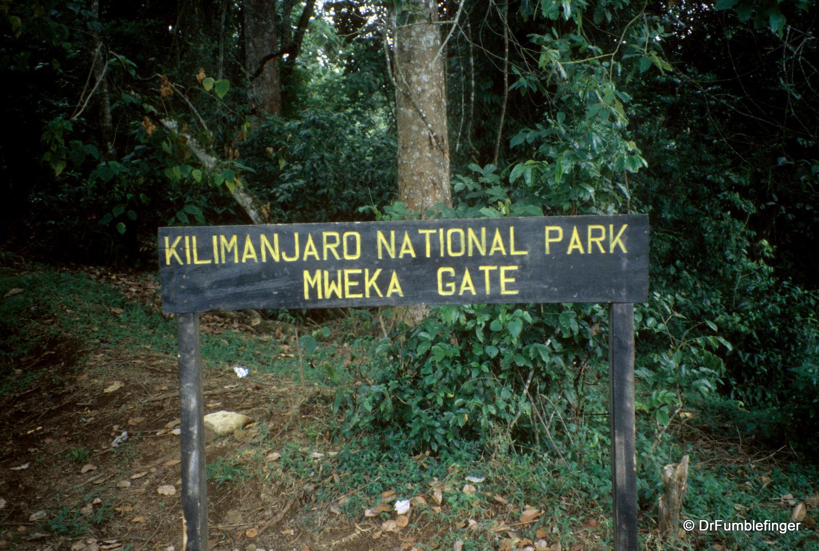 Trail's end, Mweka Gate