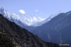 First views of Mt Everest amidst the ice and snow of the Himalaya