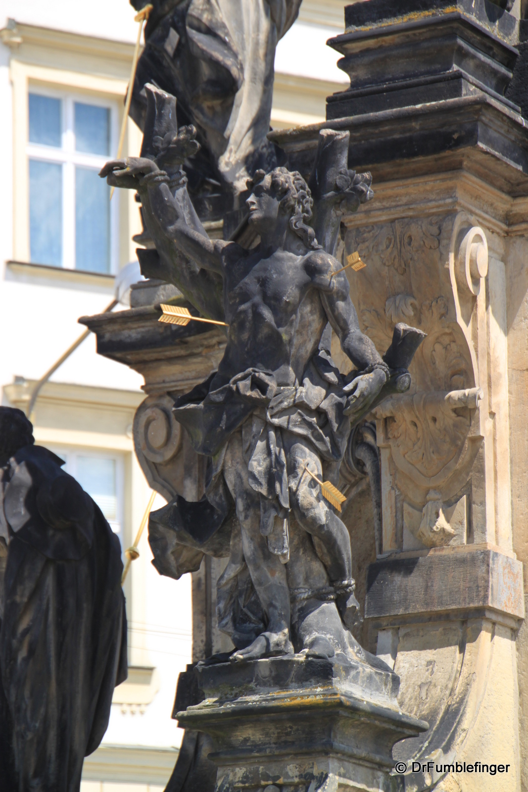 Detail of Plague column in Lower Square