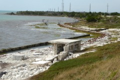 Hurricaine damaged and abandoned roadside rest area, Overseas Highway, Florida Keys