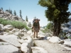 Sequoia National Park. Dr. Gary Schwartz carrying his backpack on the Lakes Trail