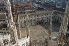 Palazzo Reale di Milano and Piazza del Duomo, viewed from the roof of the Duomo in Milan