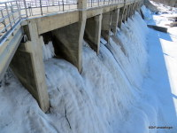 Frozen spillway, Manitoba