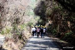 Walking to the rim of the Poas Volcano