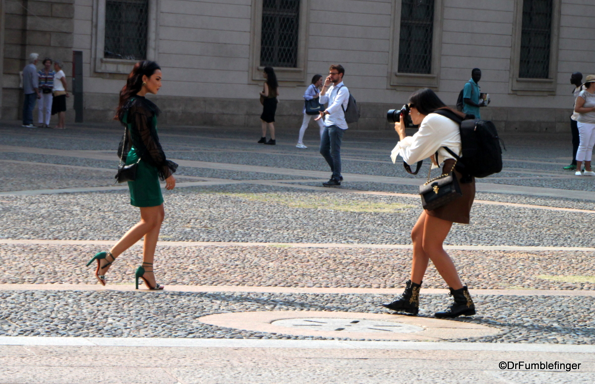 Models at Milan's Duomo during Fashion Week