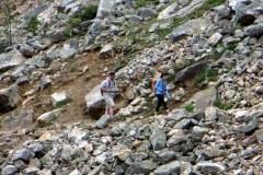Hikers at Lake Agnes, Banff National Park