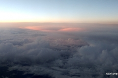 Increased sunlight in the clouds, cruising altitude