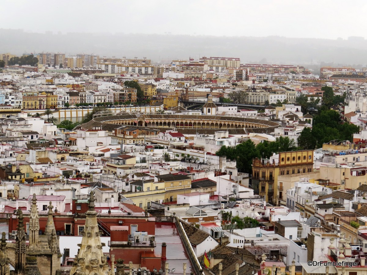 Views of Seville from the Cathedral's Giralda -- the Bullfighting arena