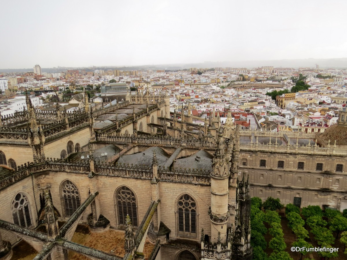 Views of Seville from the Cathedral's Giralda -- Cathedral details