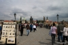 Vendors and tourists on Charles Bridge