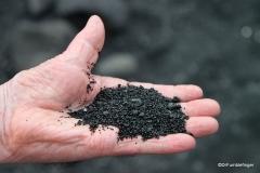 Dad holding coarse sand from Punalu'u Black Sand Beach