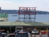 Seattle's Pike Market, Puget Sound in backdrop.