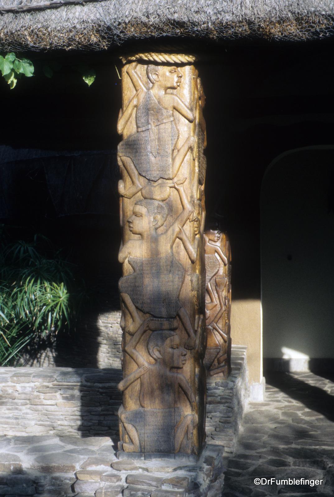 Detail of carved pillar, Serengeti Serena Lodge